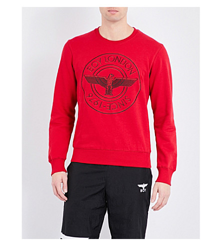 BOY LONDON Eagle-print cotton-jersey sweatshirt (Red
