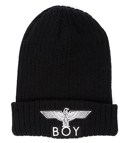 ... BOY LONDON Logo-appliquéd knitted beanie (Black. PreviousNext d2745ba9c87b