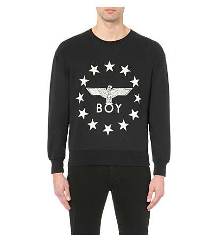 BOY LONDON Eagle Star cotton-jersey sweatshirt (Black