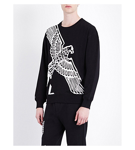 BOY LONDON Eagle-print cotton-jersey sweatshirt (Black+white