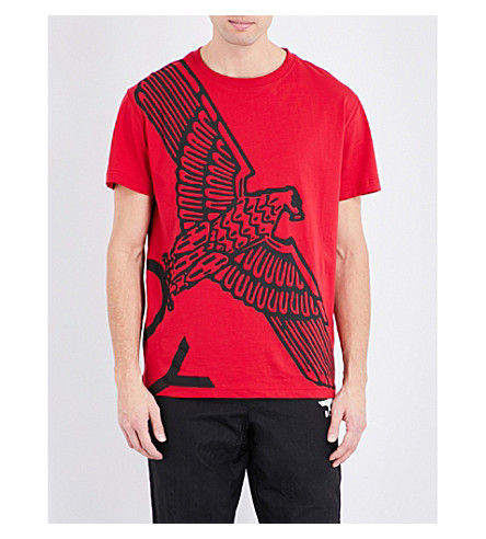 BOY LONDON Eagle-print cotton-jersey T-shirt (Red