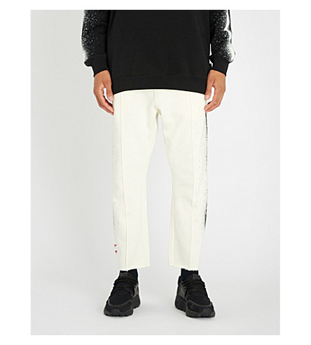BOY LONDON 假平纹针织棉慢跑裤 (关闭 + 白色