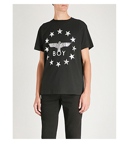 BOY LONDON Star-detailed logo t-shirt (Black/silver