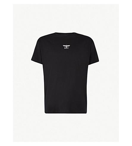 BOY LONDON 打印平纹针织棉 T 恤 (黑色