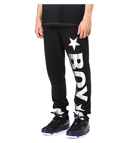 BOY LONDON Track pants with silver logo (Black