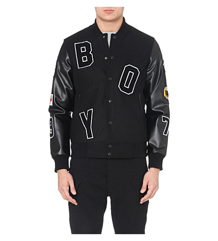 BOY LONDON Appliqué-detail varsity jacket (Black