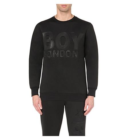BOY LONDON Embossed-text neoprene sweatshirt (Black