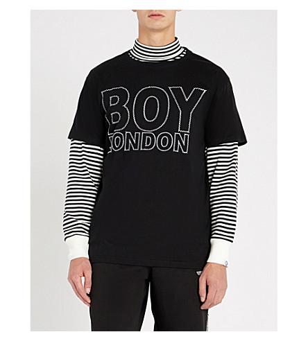 BOY LONDON London Suture cotton-jersey T-shirt (Black+white