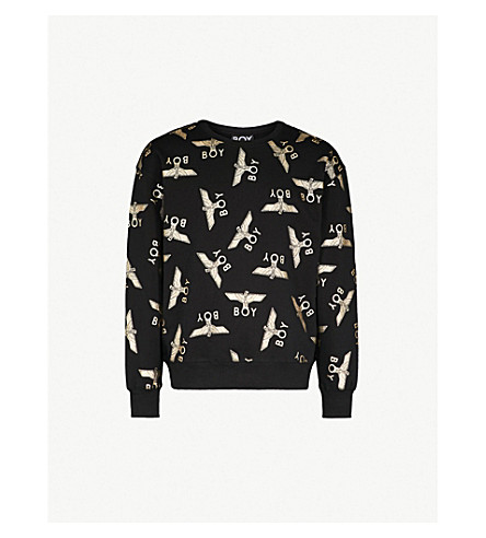 BOY LONDON Metallic eagle repeat cotton sweatshirt (Black/gold