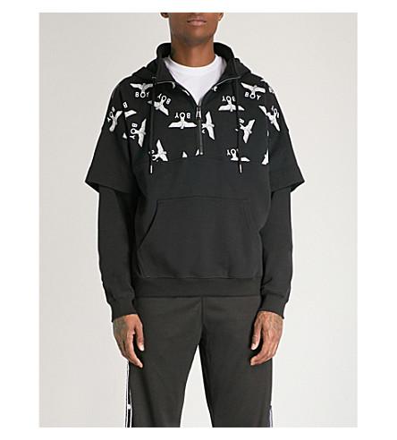 BOY LONDON Layered logo-print cotton-jersey hoody (Black