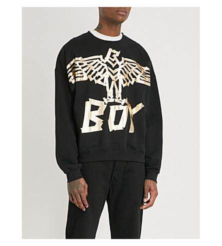 BOY LONDON Metallic tape eagle cotton-jersey sweatshirt (Black+gold