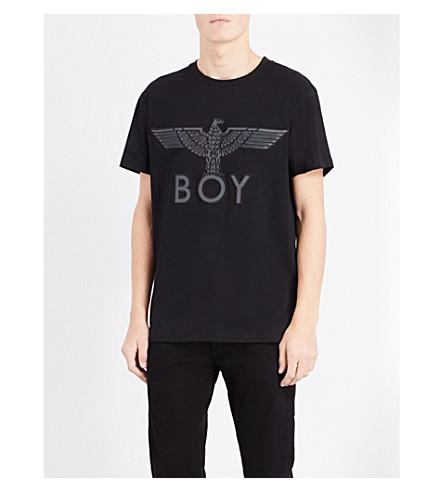 BOY LONDON 男孩老鹰平纹针织棉 T 恤 (黑色