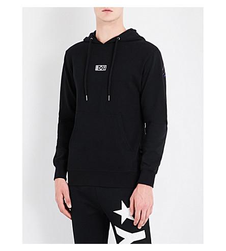 BOY LONDON 鹰-印花棉质平纹针织帽衫 (黑色