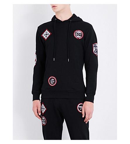 BOY LONDON Patch-detailed cotton-jersey hoody (Black