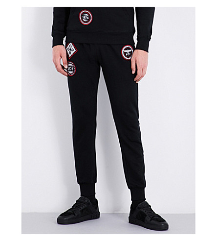 BOY LONDON Patch-detailed cotton-jersey jogging bottoms (Black