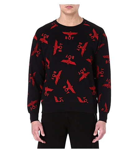 BOY LONDON Eagle repeat-print sweatshirt (Black/red