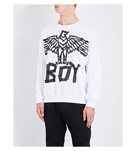 BOY LONDON Eagle tape-print cotton sweatshirt (White