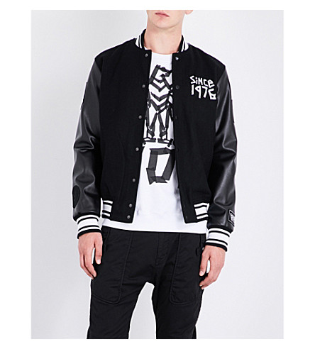BOY LONDON Eagle tape-print wool-blend bomber jacket (Black