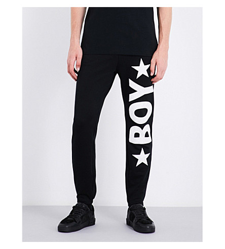 BOY LONDON Logo-print cotton-jersey jogging bottoms (Washed+black