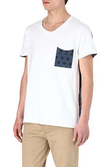 TWO SQUARE Polka-dot panel t-shirt