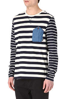 TWO SQUARE Multi-striped long-sleeved top