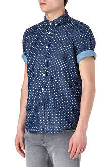 TWO SQUARE Polka-dot short-sleeved chambray shirt