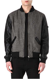 TWO SQUARE Faux leather-sleeved bomber jacket
