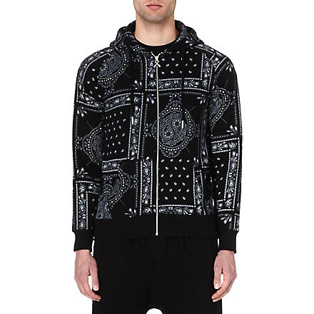 CRIMINAL DAMAGE Bandana print zip hoody (Black