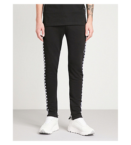 CRIMINAL DAMAGE CHEQUER COTTON-JERSEY TRACK PANTS
