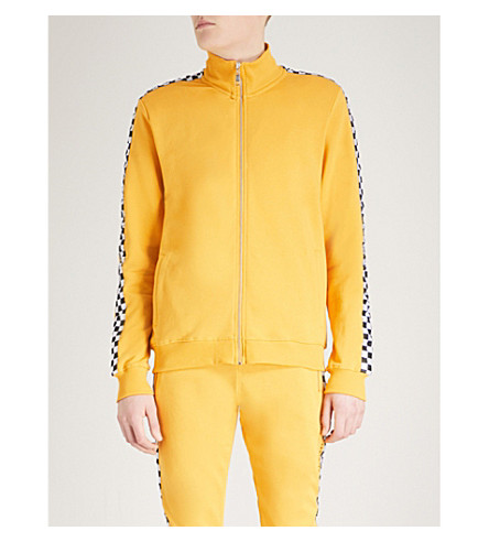 CRIMINAL DAMAGE Chequer cotton-jersey track jacket (Yellow
