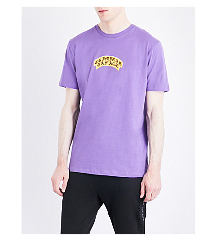 CRIMINAL DAMAGE Crest logo-print cotton-jersey T-shirt (Purple