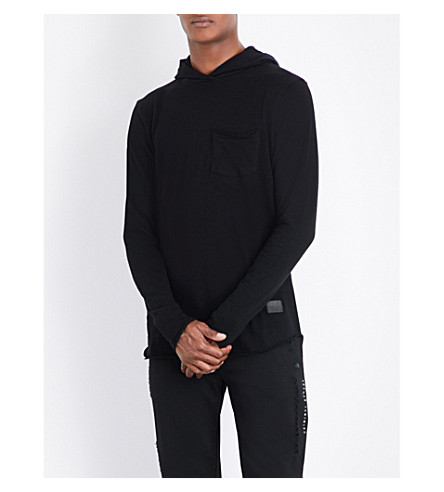 CRIMINAL DAMAGE Drape-detailed cotton-jersey hoody (Black