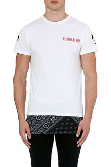 CRIMINAL DAMAGE Paisley panel zip t-shirt