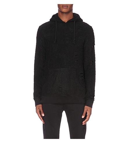 CRIMINAL DAMAGE Flake knitted hoody (Black