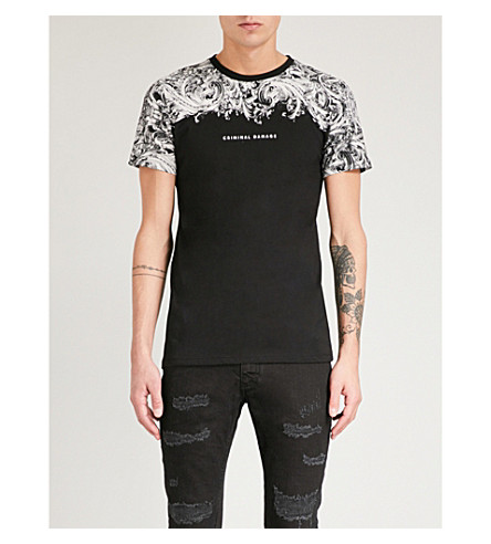 CRIMINAL DAMAGE Fresco cotton-jersey T-shirt (Black+multi
