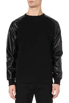 CRIMINAL DAMAGE Harlem faux-leather sleeve sweatshirt