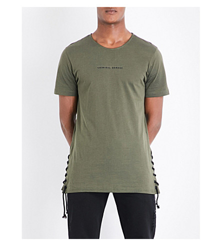 CRIMINAL DAMAGE Lace-up cotton-jersey T-shirt (Khaki