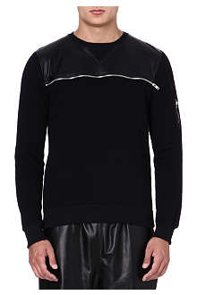 CRIMINAL DAMAGE Leather panel sweatshirt