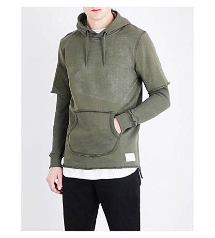 CRIMINAL DAMAGE Orda cotton-jersey hoody (Khaki