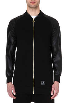CRIMINAL DAMAGE Faux-leather sleeve bomber jacket