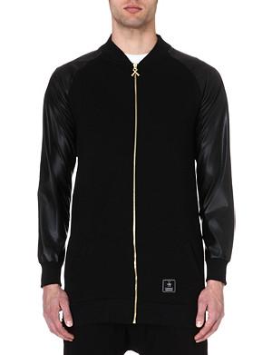 CRIMINAL DAMAGE Faux-leather sleeve bomber jacket