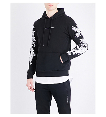 CRIMINAL DAMAGE Paulo floral-embroidered cotton-jersey hoody (Black+white
