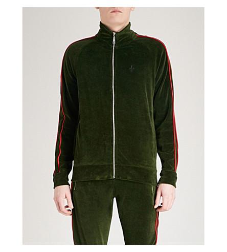 CRIMINAL DAMAGE Rep velour track jacket (Olive+red
