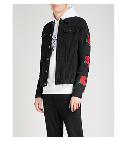 CRIMINAL DAMAGE Rosa appliquéd denim jacket (Black