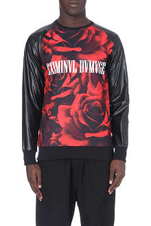 CRIMINAL DAMAGE Rose faux-leather panelled sweatshirt