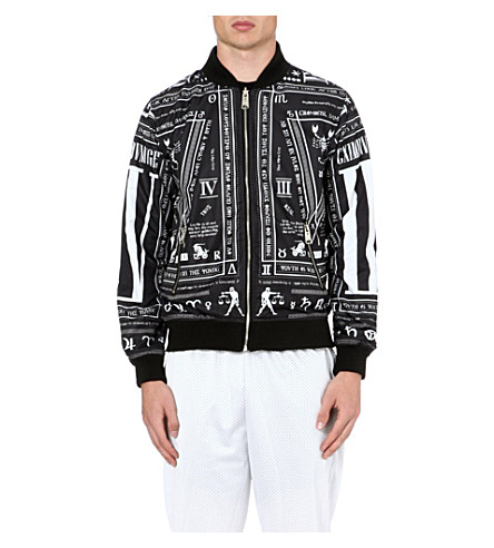 CRIMINAL DAMAGE Script bomber jacket (Black/white