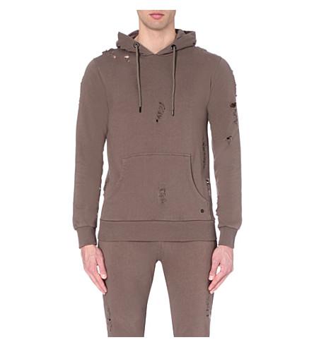 CRIMINAL DAMAGE Shoreditch distressed cotton-jersey hoody (Mushroom