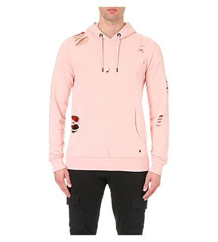 CRIMINAL DAMAGE Shoreditch distressed cotton-jersey hoody (Dusty+pink