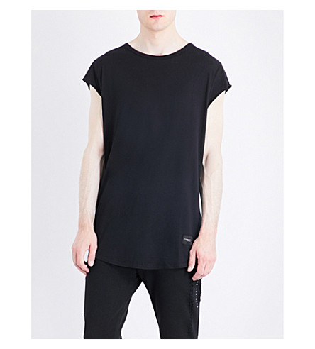 CRIMINAL DAMAGE Slider cotton-modal vest (Black