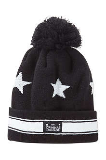 CRIMINAL DAMAGE Pom pom beanie